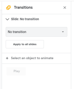 Transitions Menu in Google Slides