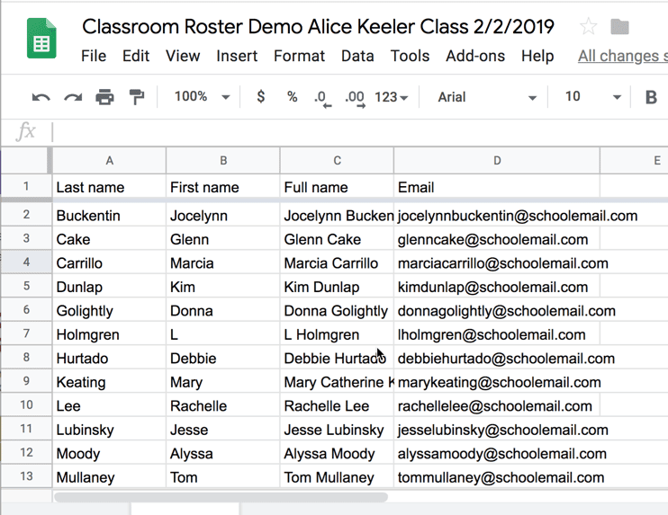Google Sheets Export of your roster