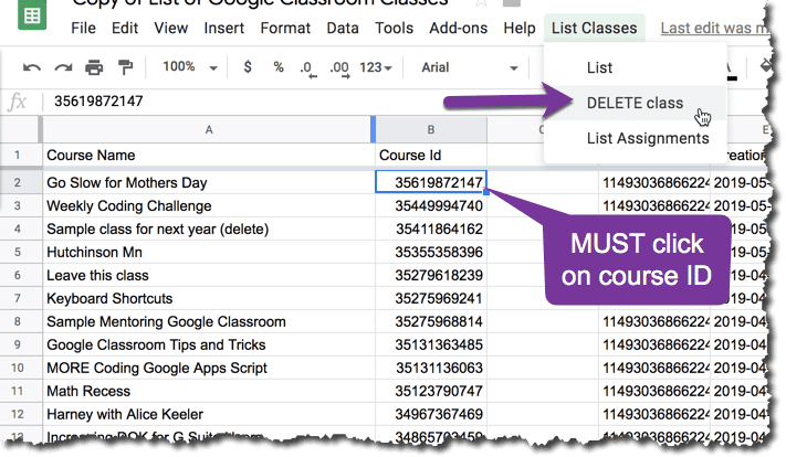 list of classes from Google Classroom and the list classes menu and choose delete