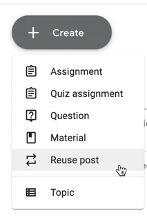 Create button on the classwork page to reuse post