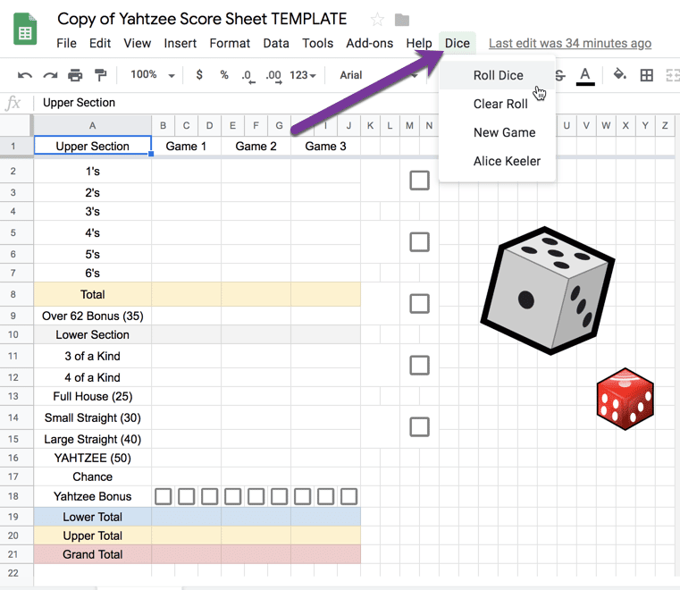 Yahtzee scoring sheet with Dice menu to roll dice