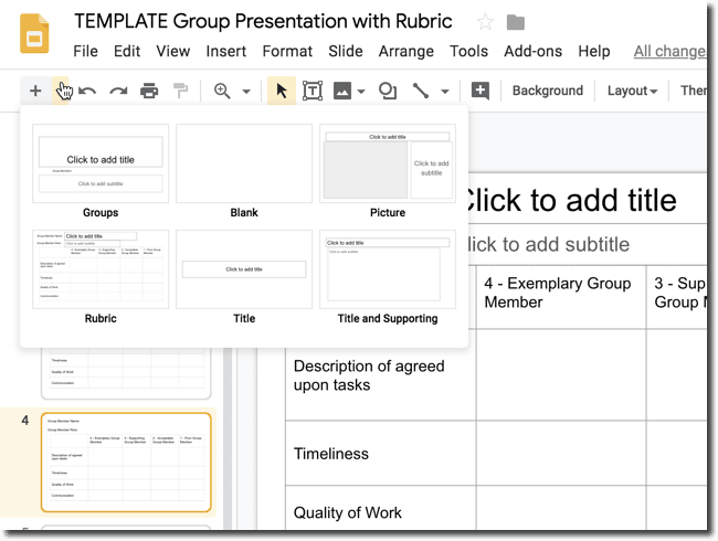 Google Slides template for collaborative group work.
