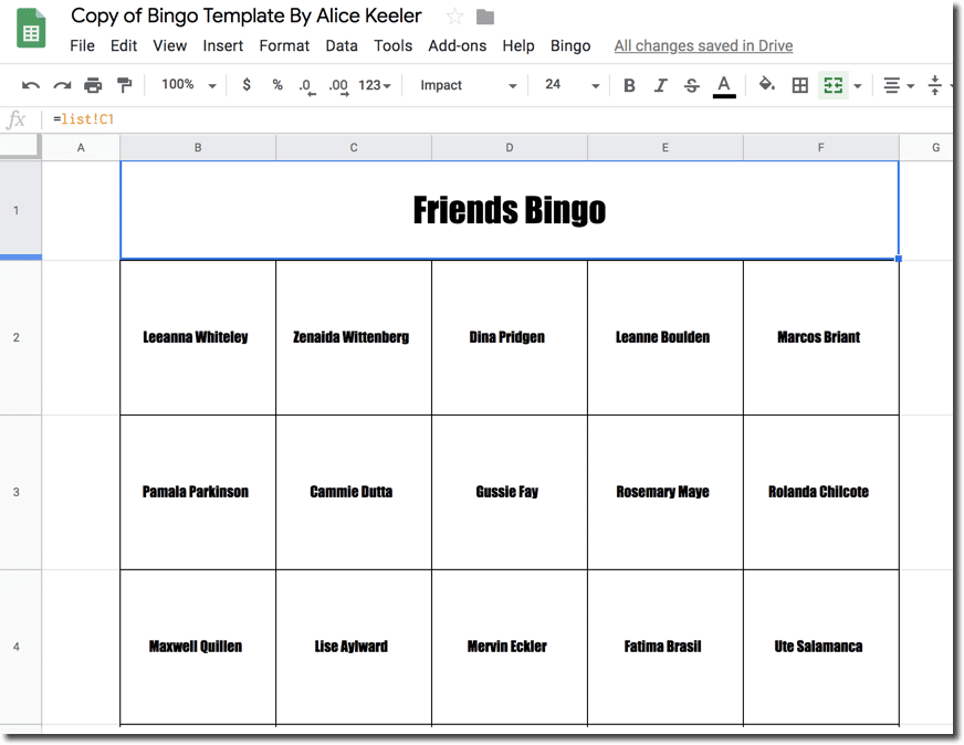 Bingo Sheet example in Google Sheets