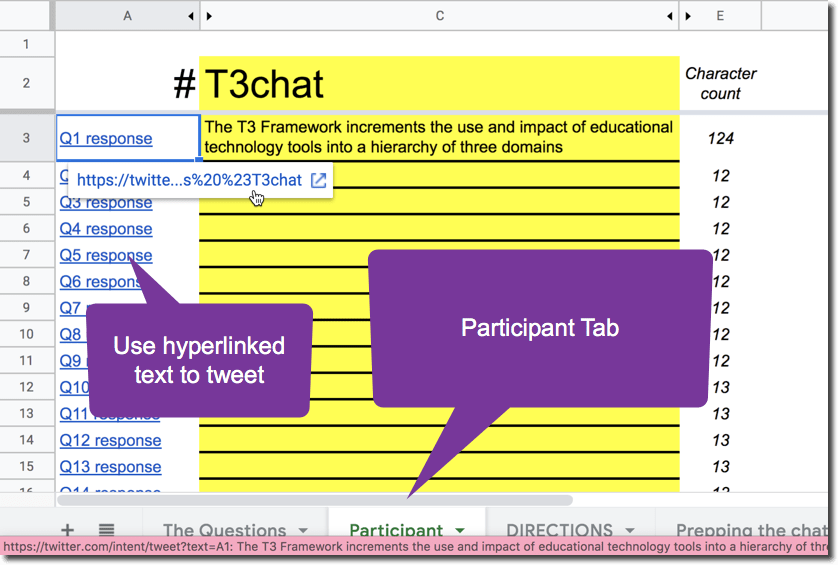 Use the participant tab to construct chat responses and tweet with the A1 and hashtag.
