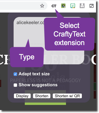 CraftyText Chrome extension
