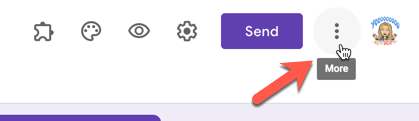 3 Dots more options menu in Google Forms