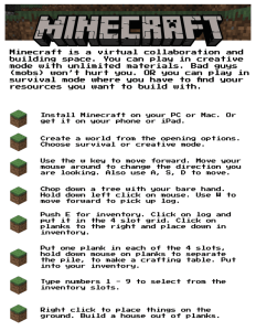Steps for playing minecraft poster