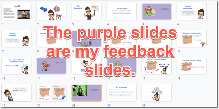 Purple slides in the grid of slides are feedback slides