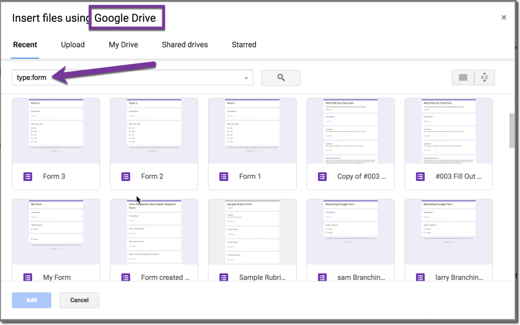 Use type:form to add forms to google drive