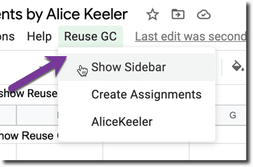 Use the Reuse GC Add-on menu
