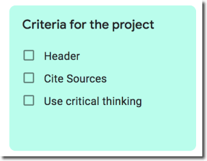 Create a list of criteria with checkboxes