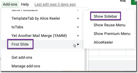 Add on menu for first slide and select show sidebar