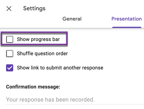 Show progress bar option in Settings > Presentation is useful to show how many sections are left in your form