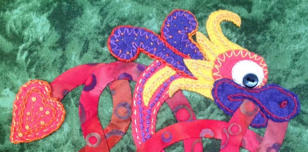 Celtic Knotwork Dragon Stitches - Wool Felt Appliqué