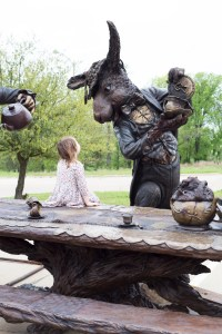 March Hare and a Mad Hatter Tea Party by sculptor Bridgette Mongeon