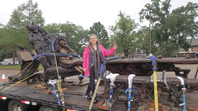 Alice, the Mad Hatter, Cheshire Cat, March Hare and Dormouse await to be installed- sculpture by Bridgette Mongeon