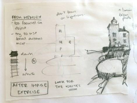 tonal exercise in sketchbook of Alice Sheridan