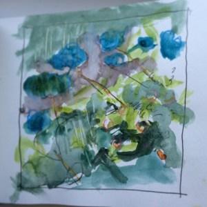 Mixed media drawing in sketchbook Alice Sheridan