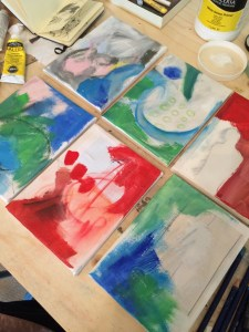 Carry on adding instinctively. Theses are much brighter colours than I usually use to create a lively underpainting.
