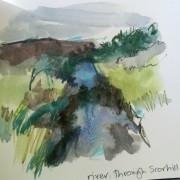 Alice Sheridan sketchbook drawing of Scorhill Down, Dartmoor