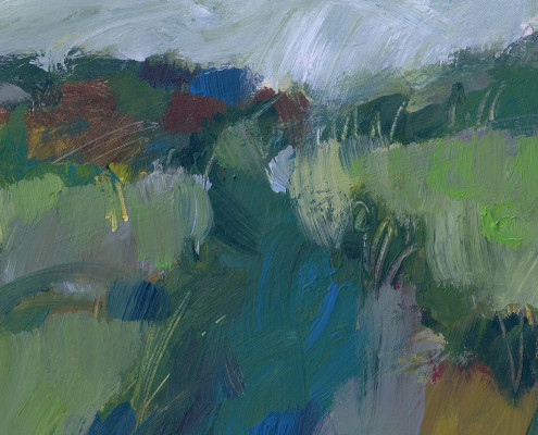 Alice Sheridan abstract landscape painting showing river in blue colours