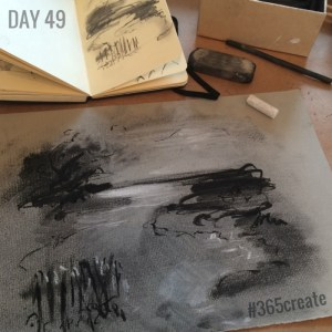 Alice Sheridan 365create charcoal drawing in preparation for monoprinting