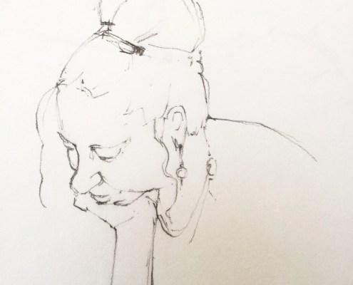 Alice Sheridan figure drawing study of head resting in hands