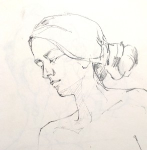 Alice Sheridan figure drawing study of young girl head