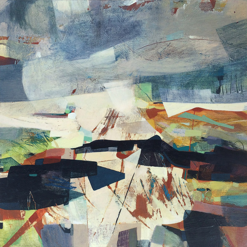 contemporary abstract painting of hills and stormy skies by Alice Sheridan