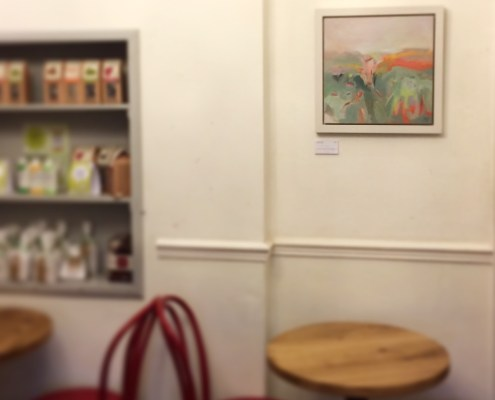 abstract landscape painting by Alice Sheridan display at Laveli