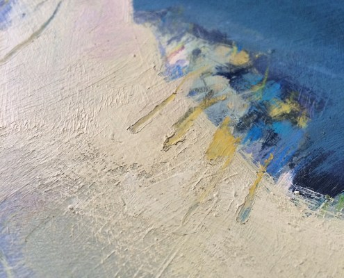 Showing texture detail on painting by Alice Sheridan