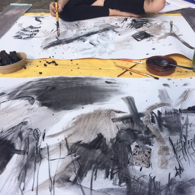 drawing outside with homemade materials