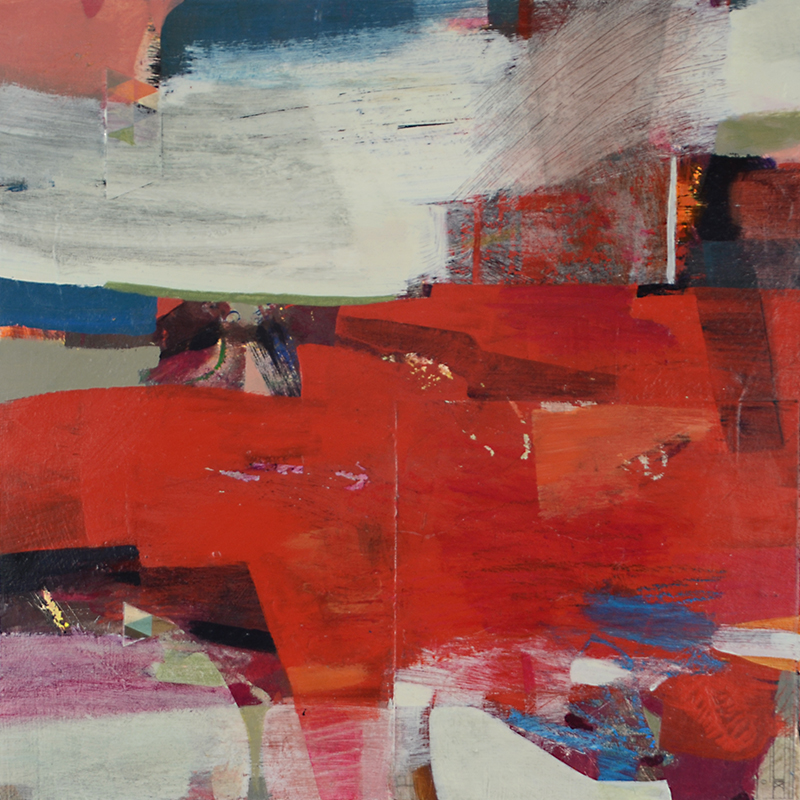 red abstract painting Alice Sheridan 'Axial'