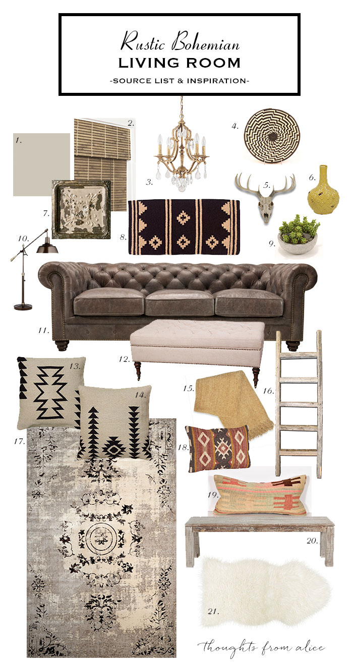 Design My Own Living Room Online Free: How To Create A Rustic Bohemian Living Room {Source List