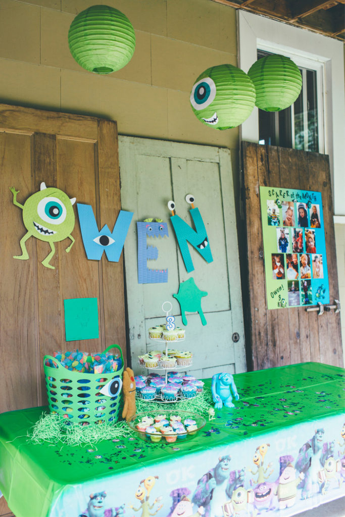 Every Monsters Inc And University Related Item She Could Find So It Was A Combination Of Easy Diy Projects Store Bought Decorations