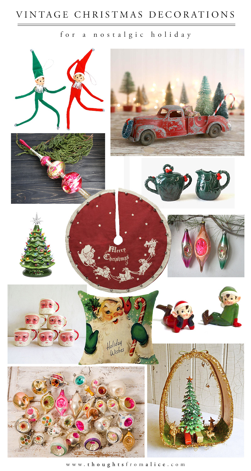 i could probably browse vintage christmas decorations online for hours but narrowed it down to these to share with you today - Vintage Christmas Decorations