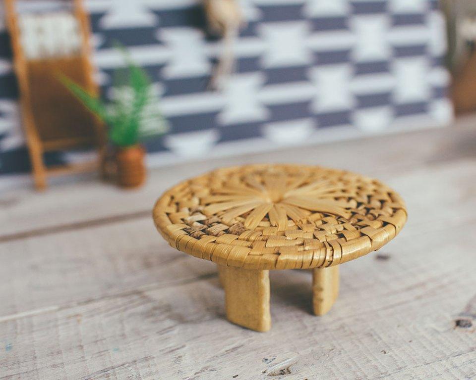 rattan dollhouse with bamboo bead legs