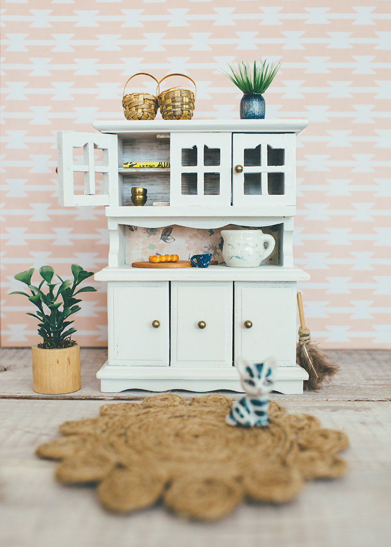 Decorated White Dollhouse Hutch with Accessories