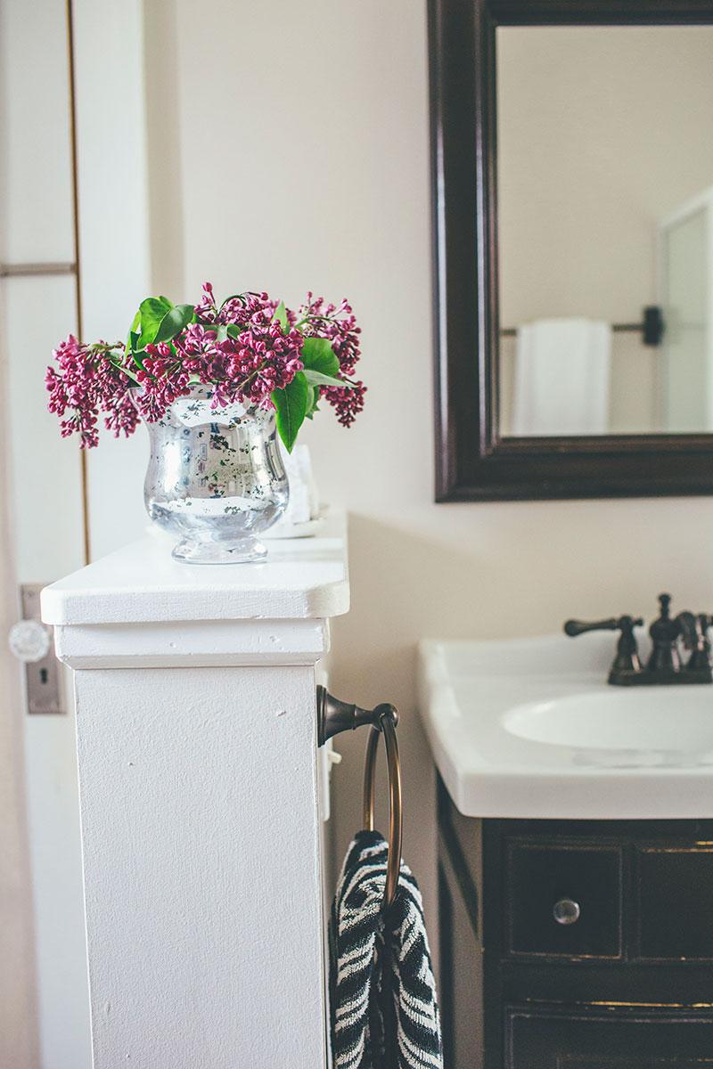 Fresh lilacs breath new life into a farmhouse bath redo