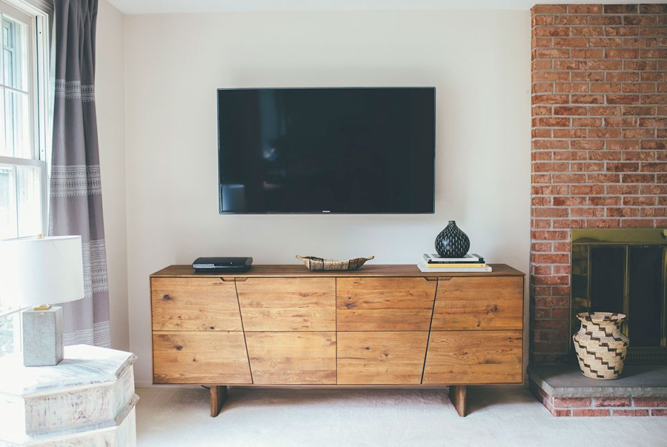 Family-Room-Wall-Mounted-TV-and-Rustic-Sideboard