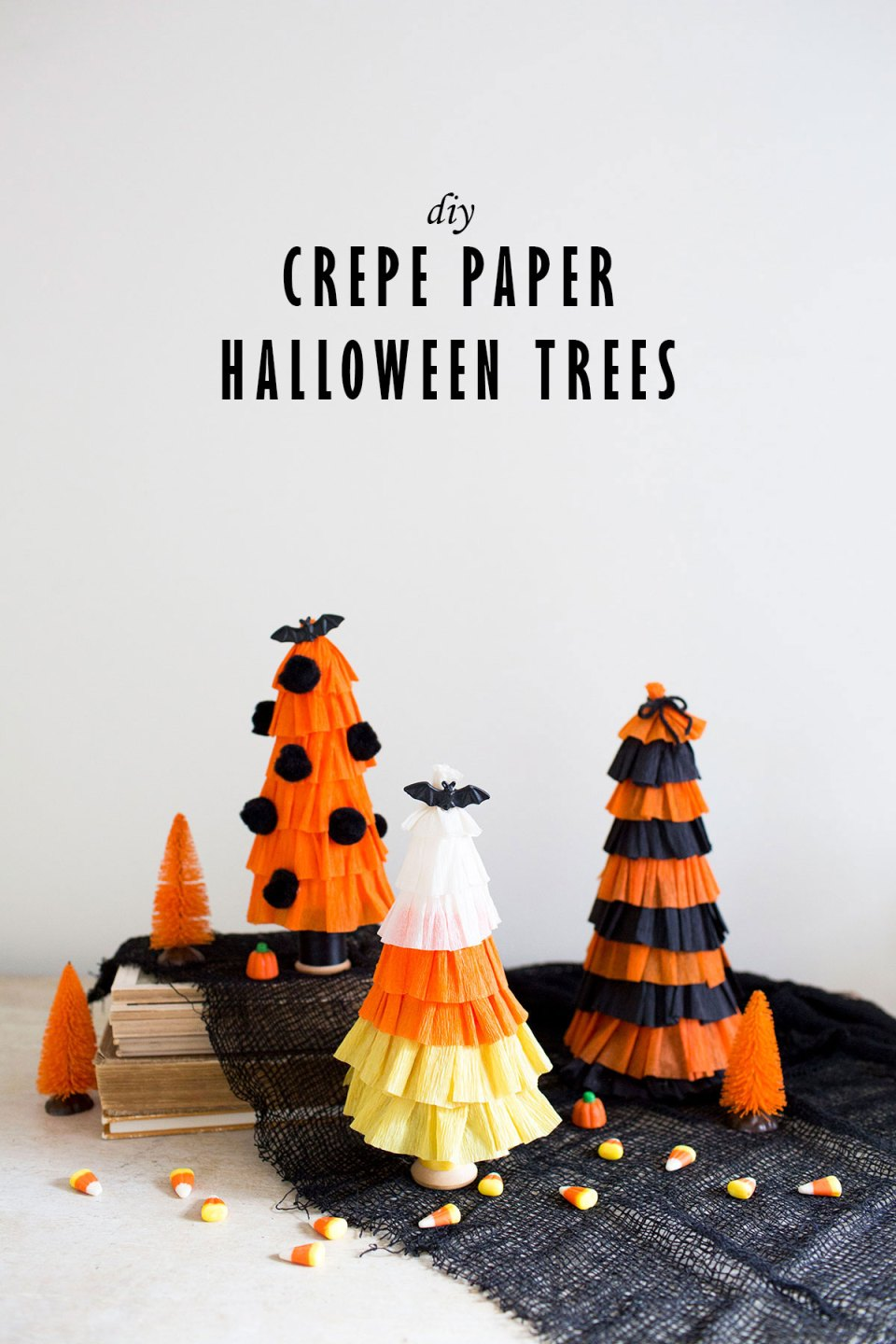 DIY Crepe Paper Halloween Trees