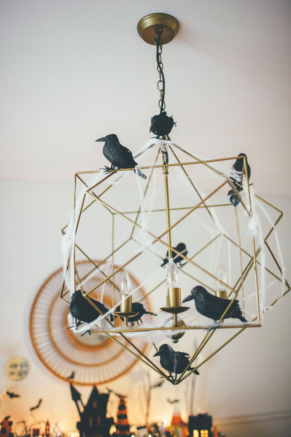 Modern Gold Chandelier with Crows for Halloween