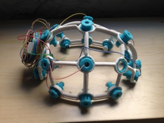 A 3D printed wireless EEG scanner with 8 nodes, built in 2017 at Hangar Labs in Barcelona.
