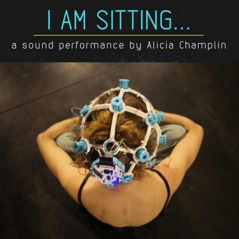 "An image of the promotional poster for the 2018 performance, ""I Am Sitting... IV"" in Bergen, Norway, depicting Champlin with a 3D printed EEG device on her head."