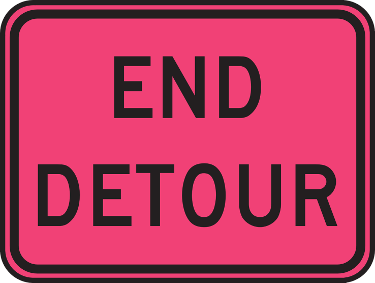 END DETOUR road sign