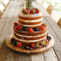 Passionfruit naked cake with lemon and passionfruit curd