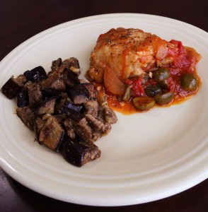 Mediterranean Chicken Thighs and Eggplant Salad