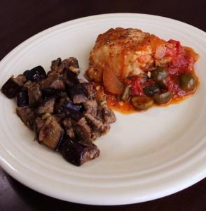 Mediterranean Chicken Thighs and Eggplant Salad
