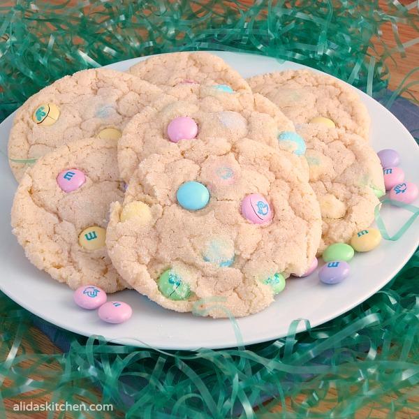 Chewy M&M Sugar Cookies   alidaskitchen.com