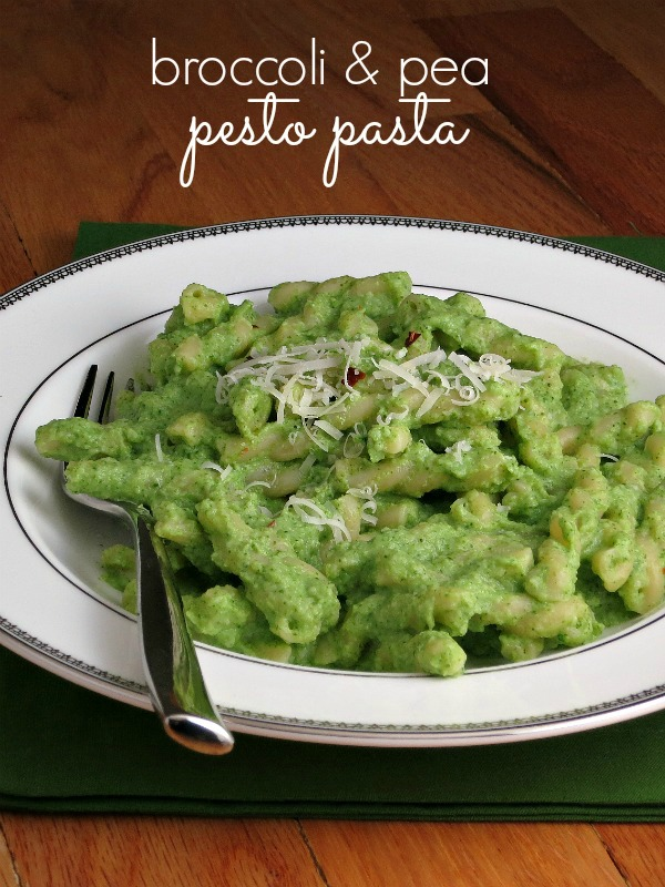 Broccoli Pea Pesto Pasta